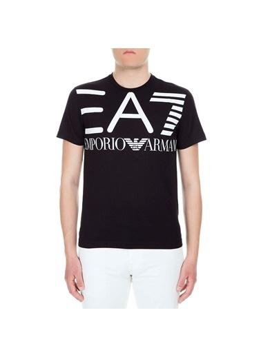 EA7 Emporio Armani Ea7  3Gpt06 Pj02Z 1 Bisiklet Yaka Kısa Kol Logo Baskılı Pamuk Erkek Tshirt Siyah